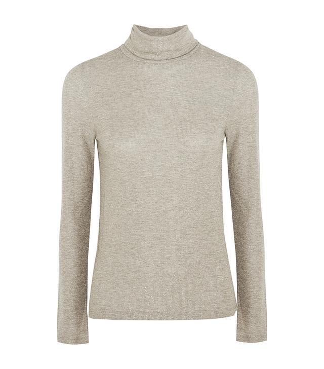 Metallic Ribbed-knit Turtleneck Sweater