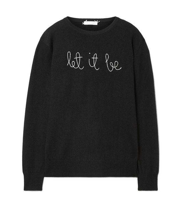 Let It Be Embroidered Cashmere Sweater
