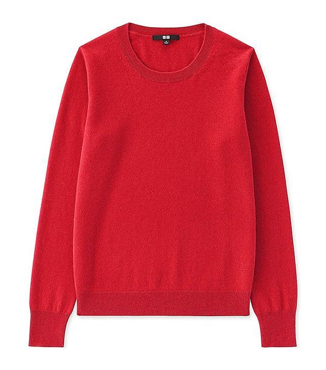 Women's Cashmere Crew Neck Sweater, Navy, XXS