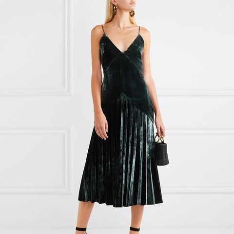 Pleated Velvet Midi Dress