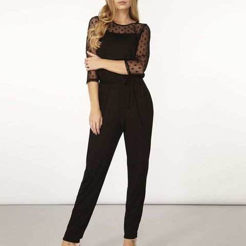 Black Spotted Mesh Jumpsuit