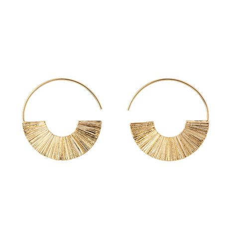 Textured Fan Half Disc Earring