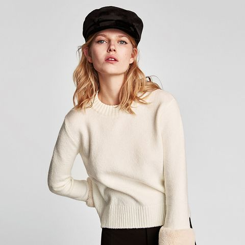Sweater With Faux Fur Cuffs