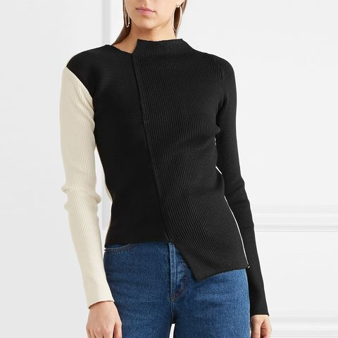 Kelly Two-Tone Asymmetric Ribbed-Knit Sweater