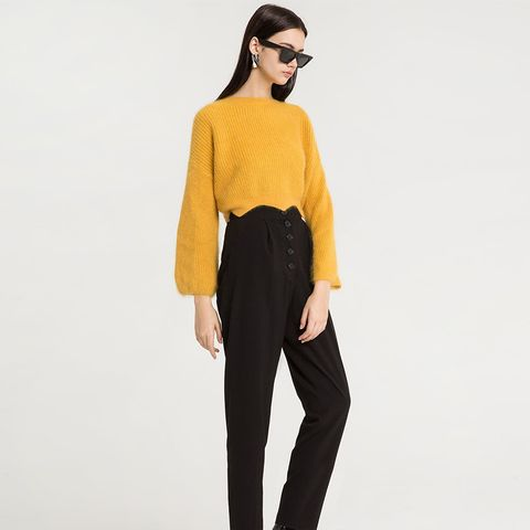 Mika Yellow Scalloped Crop Sweater