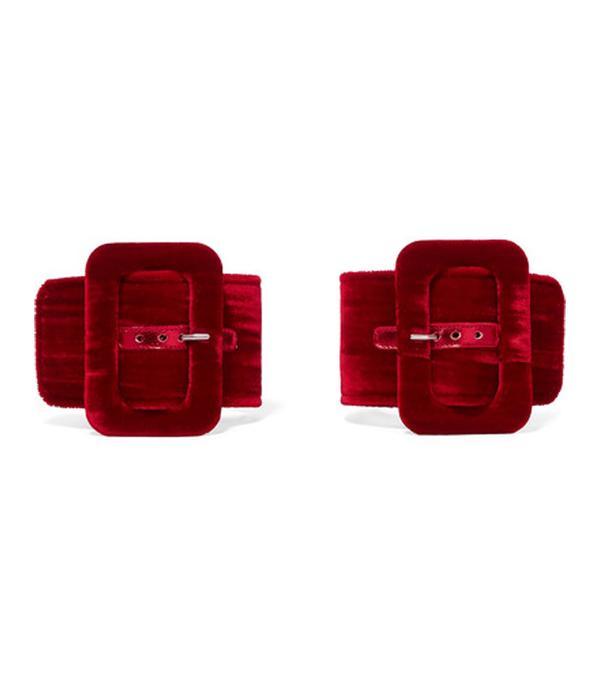 Oversized-buckle velvet ankle straps