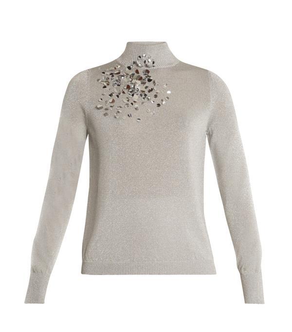 Embellished high-neck sweater