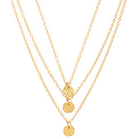 3 Disc Necklace in Metallic Gold