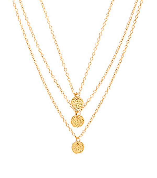 3 Disc Necklace in Metallic Gold.