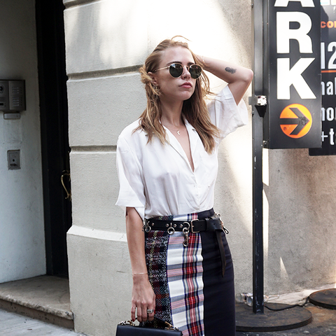 how to wear a pencil skirt: checked skirt with white shirt for a bit of a punk look