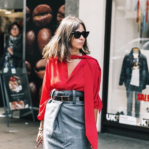 how to wear a pencil skirt: try a red top with checks
