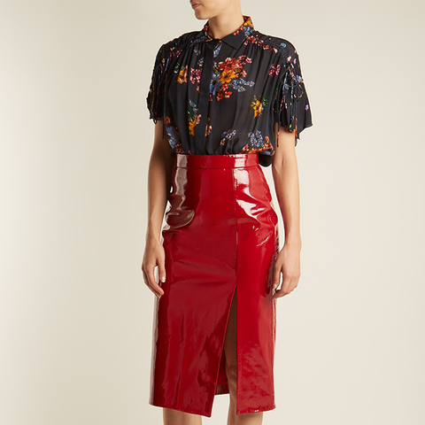 Kirsten High-Rise Patent-Leather Pencil Skirt