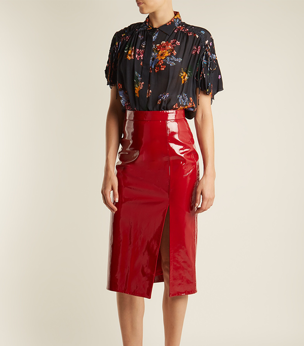 how to wear a pencil skirt: Saloni Kirsten High-Rise Patent-Leather Pencil Skirt