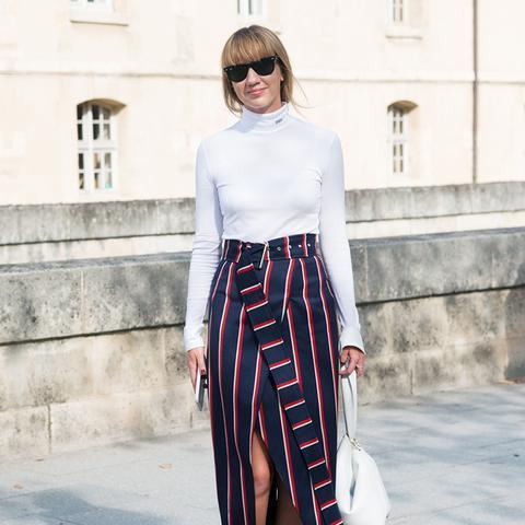 how to wear a pencil skirt: lisa aiken wearing a side-split pencil skirt
