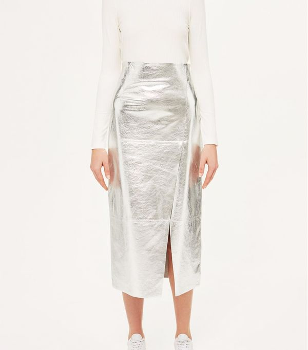 how to wear a pencil skirt: Topshop Leather Foil Asymmetric Skirt by Boutique
