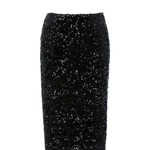 Velvet Sequin Midi Skirt