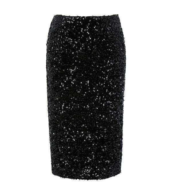 how to wear a pencil skirt: Warehouse Velvet Sequin Midi Skirt