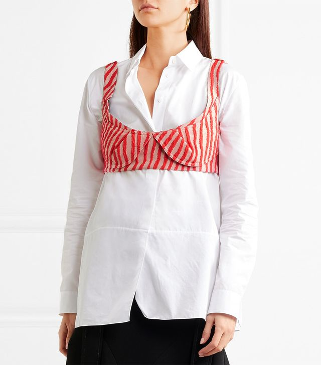 Marni Striped Cotton-Blend Bra Top