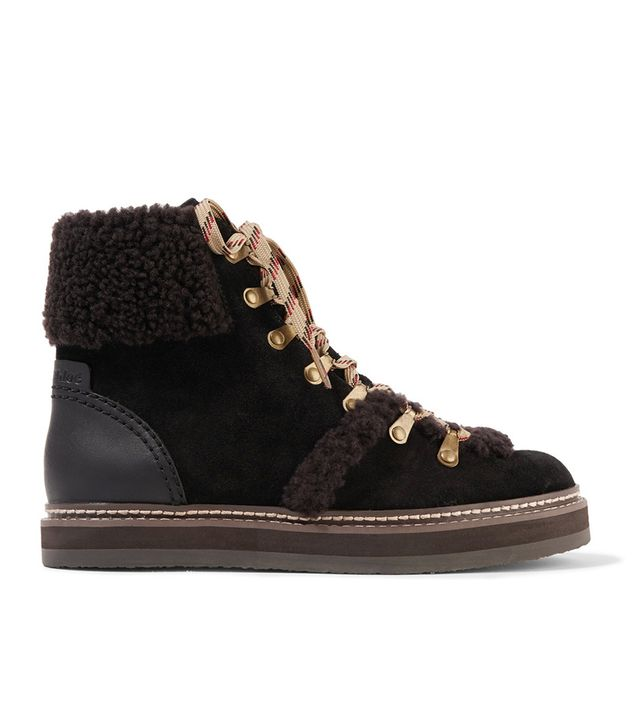 See by Chloé Shearling-Trimmed Suede Ankle Boots