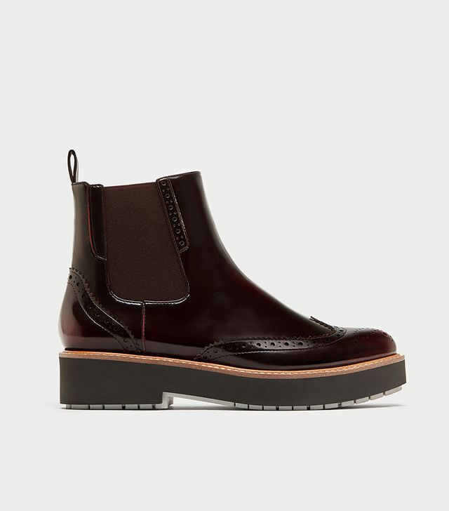 Zara Flat Ankle Boot With Elastic Side Tabs