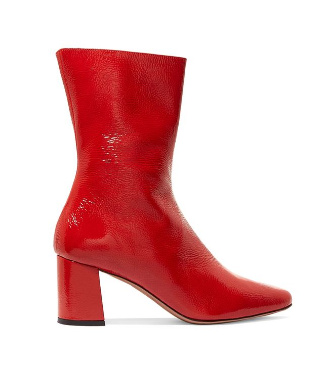 Trademark Mira Patent Textured-Leather Ankle Boots