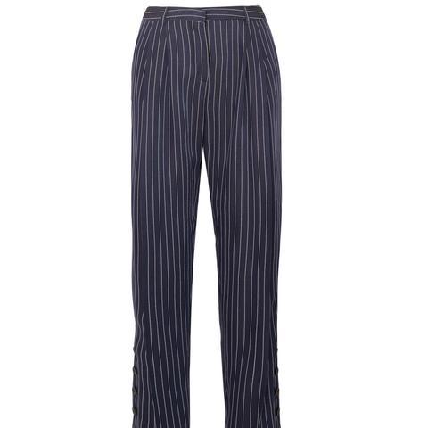 Lidig Pinstriped Ottoman Wide-Leg Pants