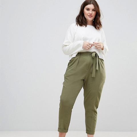 Woven Peg Pants With Obi Tie