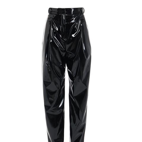 Patent Sculpted Pleat Pants