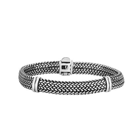Silver 9mm Tuscan Woven Bracelet with Polished Accents