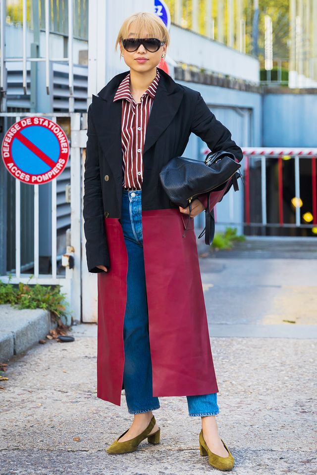 Day 28: Add polish to your denim outfit by wearing a long coat.