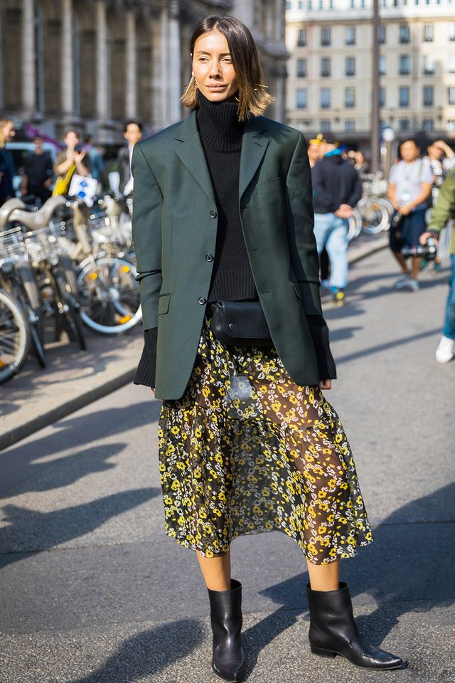 Day 26: Wear ankle boots with your favorite printed skirt.