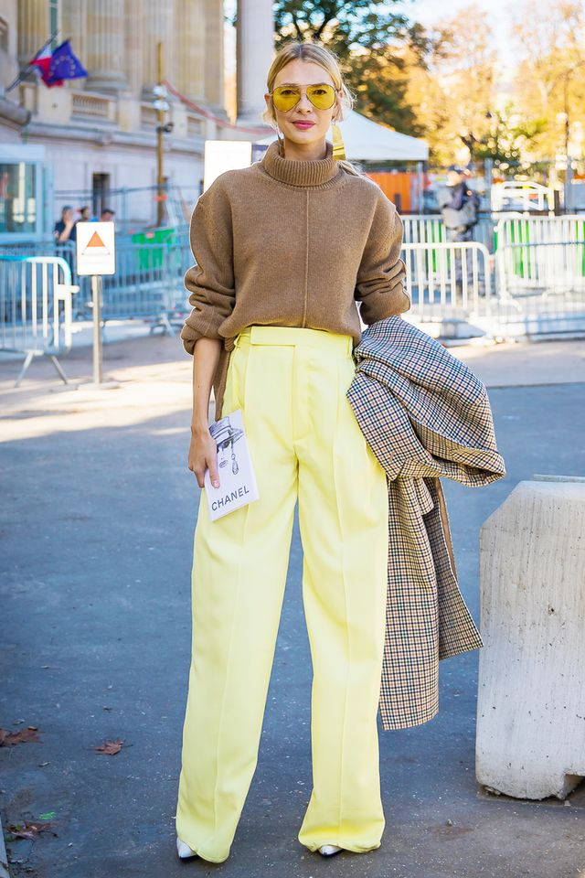 Day 17: Style a turtleneck sweater with statement pants.