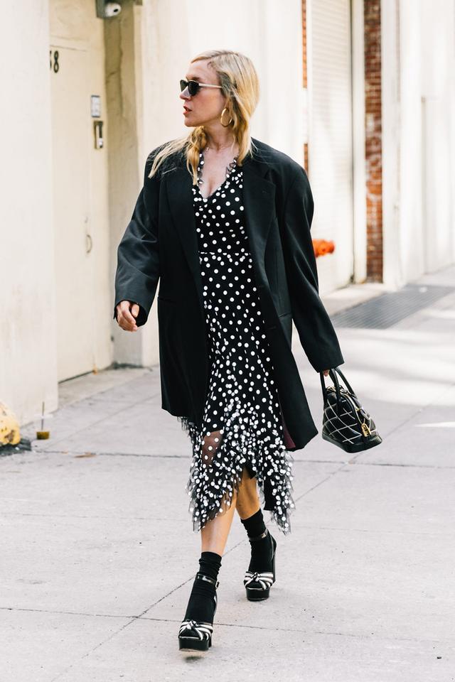 Day 16: Pair a polka-dot piece with an oversize blazer.