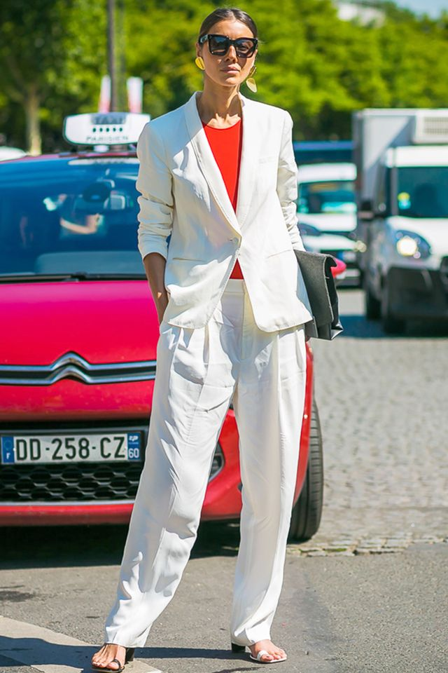 Day 4: Wear a bold red top with simple trousers.
