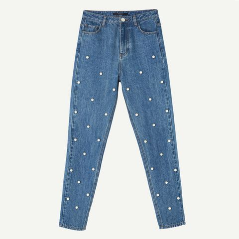 Mom Fit Jeans With Pearls