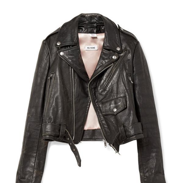 Moto Racer Distressed Leather Biker Jacket