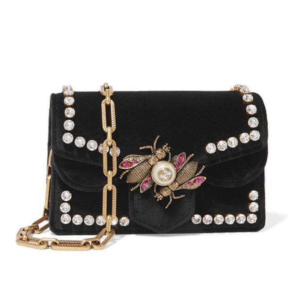 Broadway Embellished Velvet Shoulder Bag