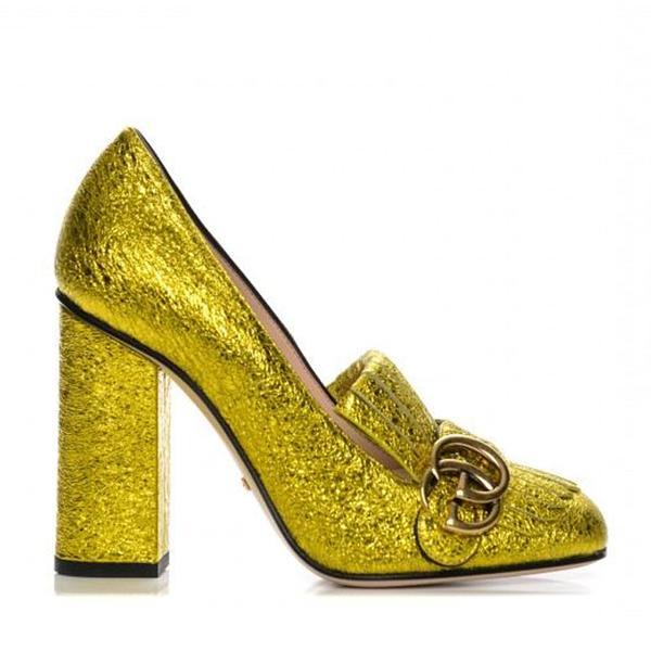 Gucci Metallic Leather Gold Heels
