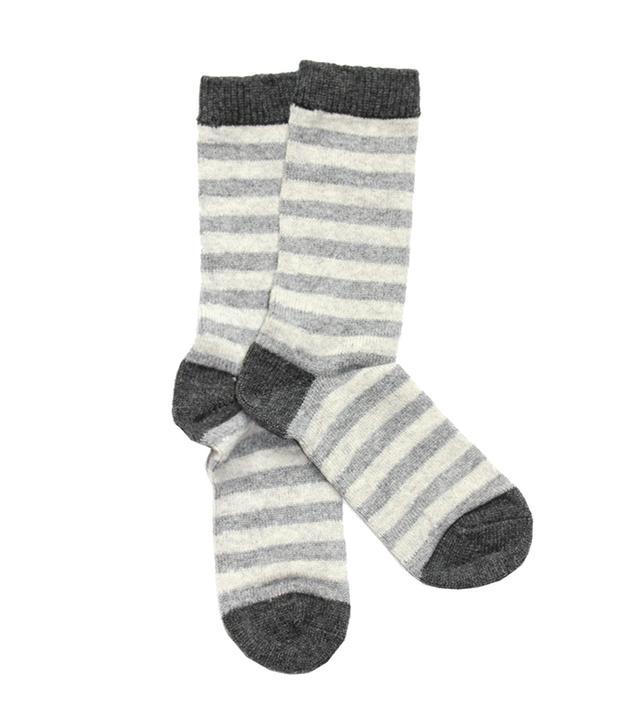 White + Warren Cashmere Striped Socks