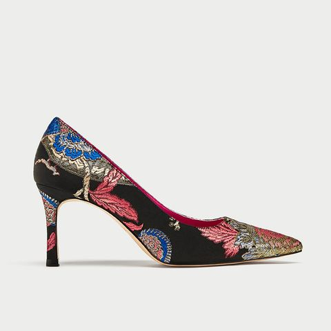 Printed Fabric High Heel Court Shoes
