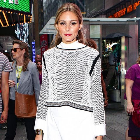 Olivia Palermo Wears Sweater, Shirtdress, and Ankle Boots