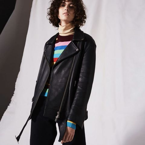 Longline Leather Biker Jacket by Boutique