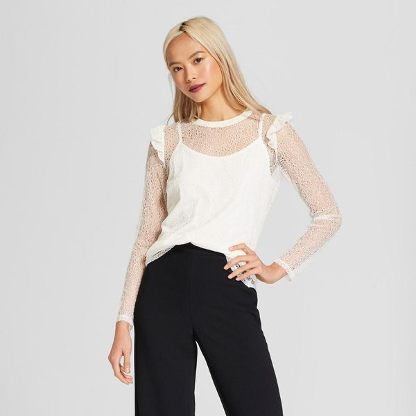 Long Sleeve Rib Crew Lace Top