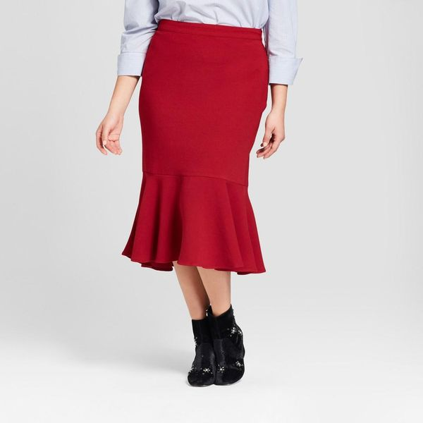 Plus Size Fluted Midi Skirt