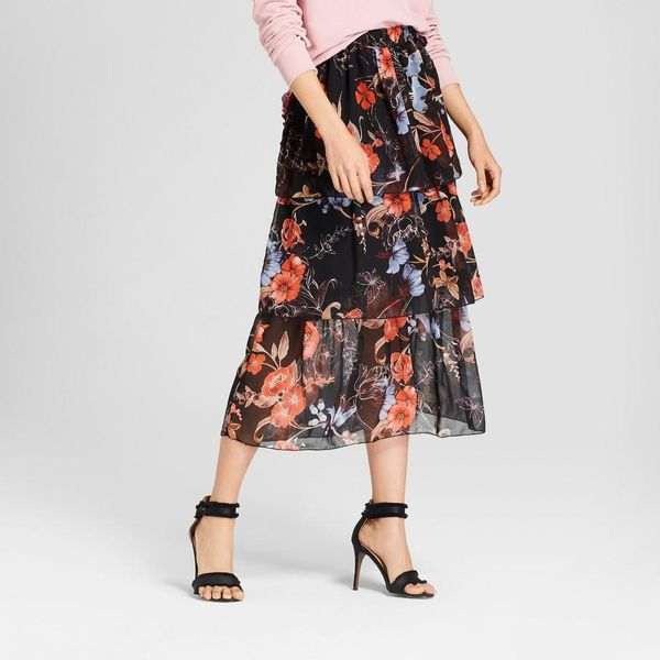 Silky Tiered Midi Skirt