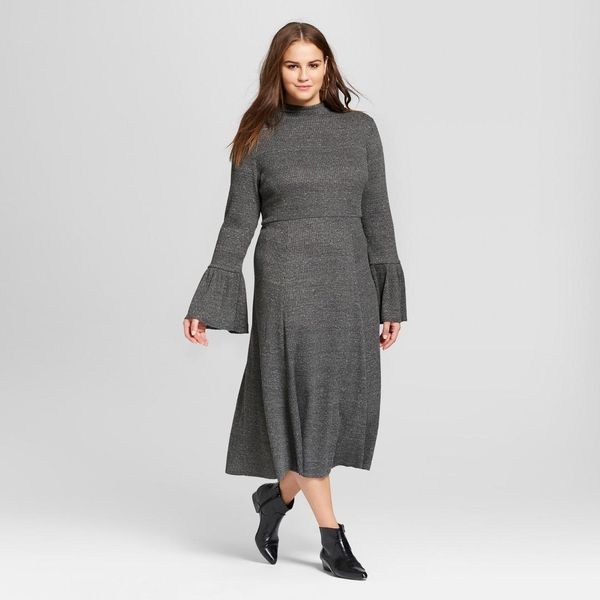 Plus Size Ruffle Knit Midi Dress