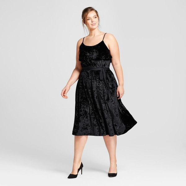 Plus Size Satin Tie Velvet Midi Dress