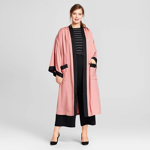 Plus Size Silky Robe Coat