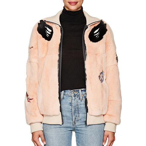 Embellished Fur Bomber Jacket