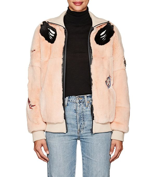 Women's Embellished Fur Bomber Jacket